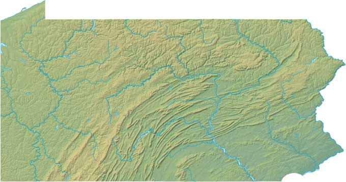 Pennsylvania relief map