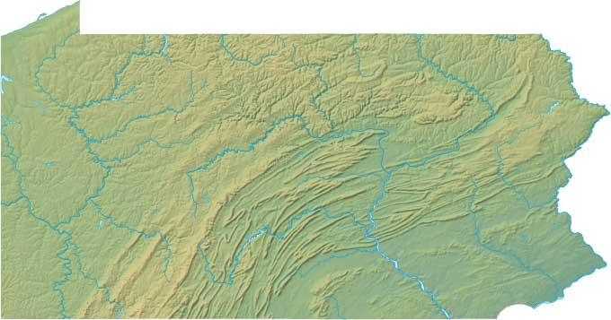 Pennsylvania relief map